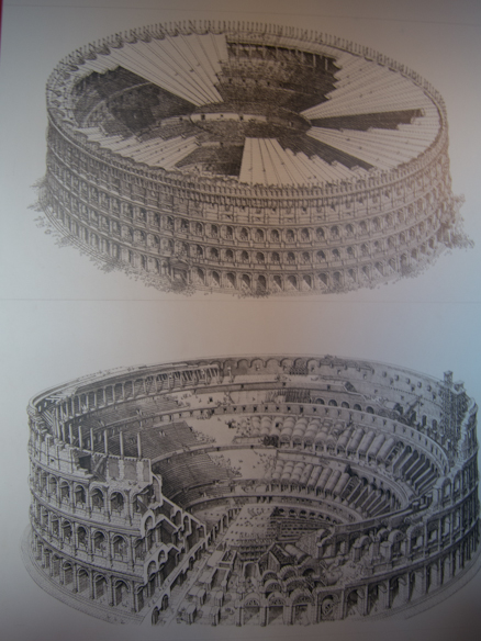 Drawings of Colosseum, with canvas shade and cross section